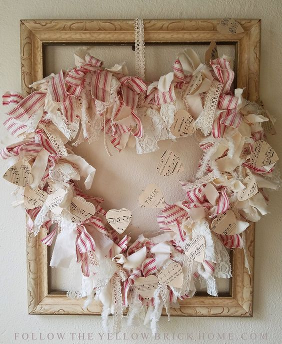 Valentine's Day Wreath Shabby farmhouse DIY heart rag wreath red ticking stripe and muslin with lace