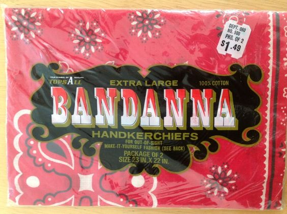 Vtg red bandana western workwear, NOS-original unopened pkg of 2, 100% cotton