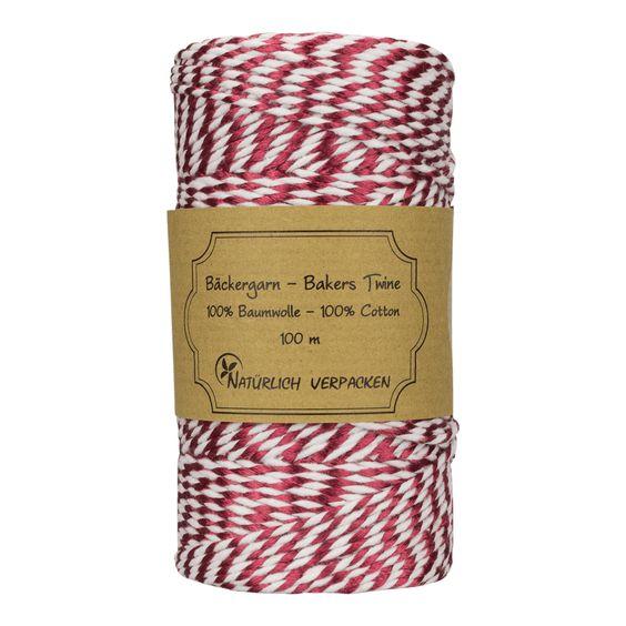 Bakers Twine, Burgunder metallic und weiß, 100 m, 100% Baumwolle