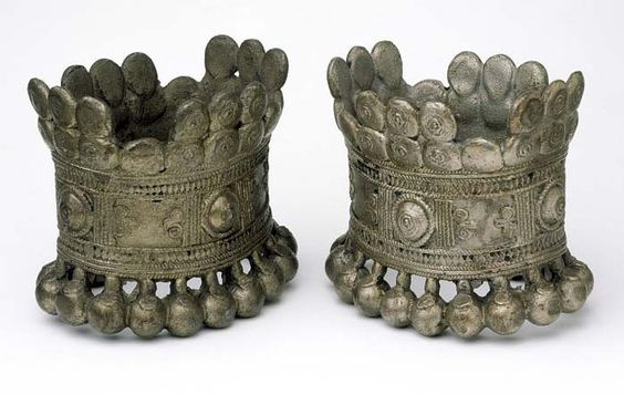 Bihar, India | Massive anklets with ball decoration | Brass with tin | ca. prior to 1867: