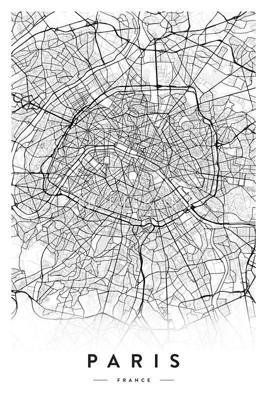 Paris City Map Paris Map Poster Paris Map Print Paris City Map