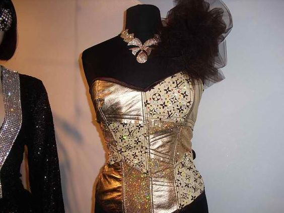 Revamped LV CottonSequinnedand Leather Corset by jaesynburke1, $385.00