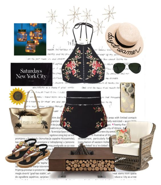 """""""The Darkest Night """" by moonlightsilhouette ❤ liked on Polyvore featuring Oris, Uttermost, Zimmermann, River Island, Eugenia Kim, Ray-Ban, Skinnydip, AK47 and Improvements"""