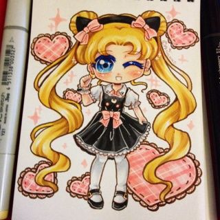 It's my birthday today! =D (Dec 13th)~ I am officially 25 orz I feel so old, lol. This is just a chibi of Usagi I did in some cute clothes, coloured with copic markers.  #fanart
