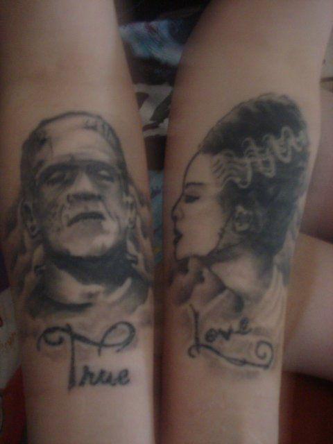 Frankenstein + Bride = True Love <3  Love this tattoo done by Captains Tattoo.