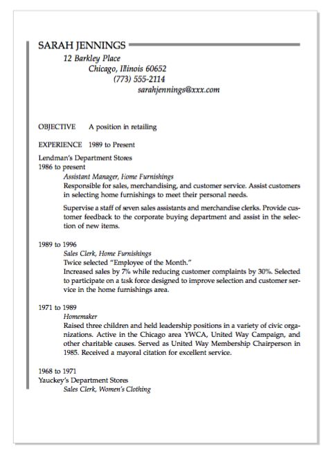Resume Examples Sample Homemaker Resume With Professional