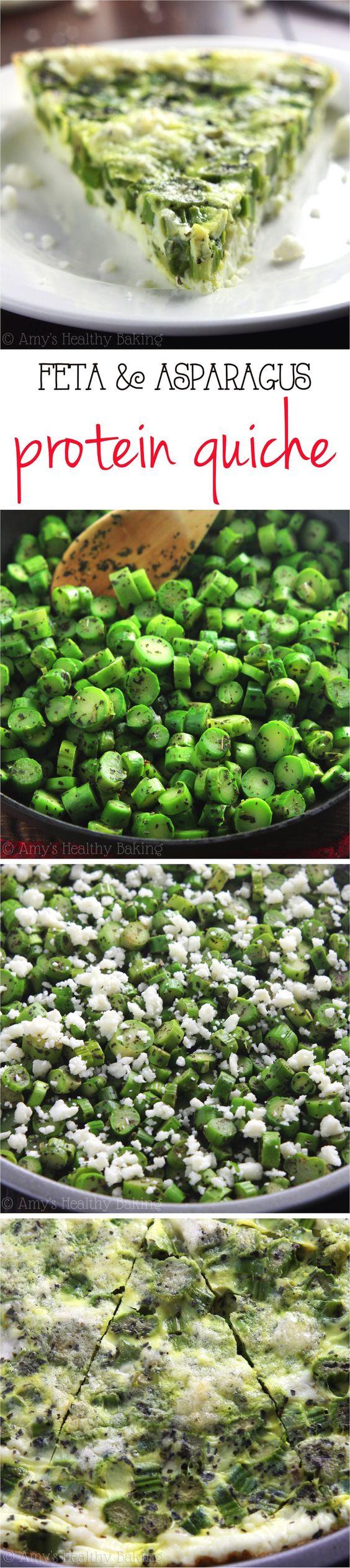Skinny Asparagus & Feta Quiche | Recipe | Quiche, Asparagus and Feta