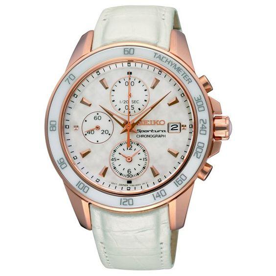 Reloj mujer cronógrafo piel - blanco