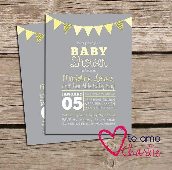 baby shower invites grey yellow baby shower gender neutral baby shower