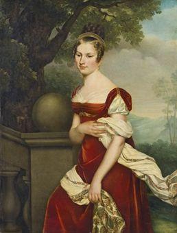 Adele Romany, Portrait of Aglaé-Constance Boudard in red velvet dress, 1815: