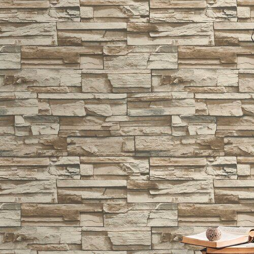 Coleen Stacked Stone 16 5 L X 20 5 W Textured Peel And Stick Wallpaper Roll In 2020 Peel And Stick Wallpaper Wallpaper Roll Stacked Stone