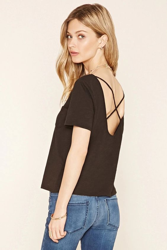 Forever 21 Contemporary - A slub knit tee featuring a scoop neckline, a chest patch pocket, short sleeves, and a strappy crisscross-cutout back. #f21contemporary