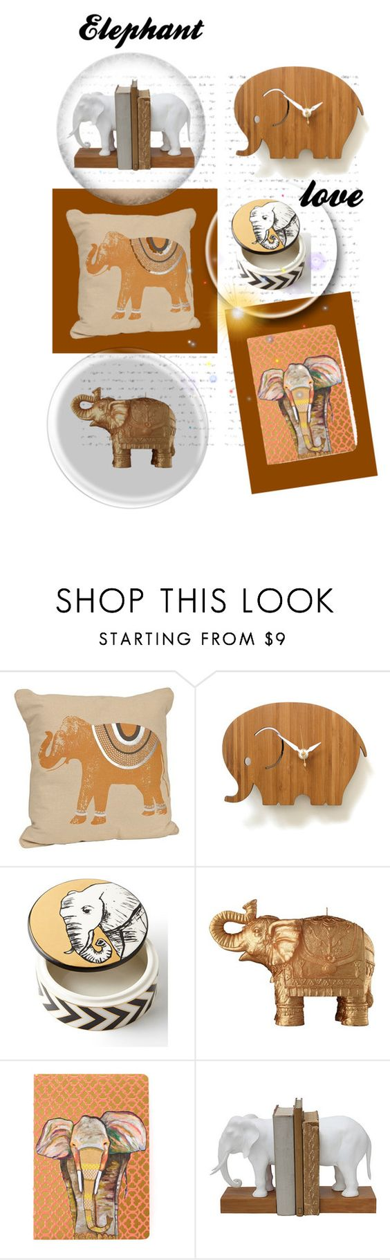 """Elephant love"" by wendycecille ❤ liked on Polyvore featuring interior, interiors, interior design, home, home decor, interior decorating, Decoylab, Jonathan Adler and Mario Luca Giusti"