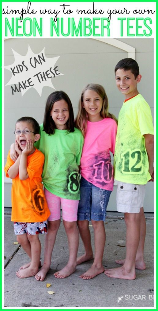 i love these tshirts!!   perfect for a birthday shirt, yet they can still wear them year-round. neon number tee simple diy make your own #creativebuzz