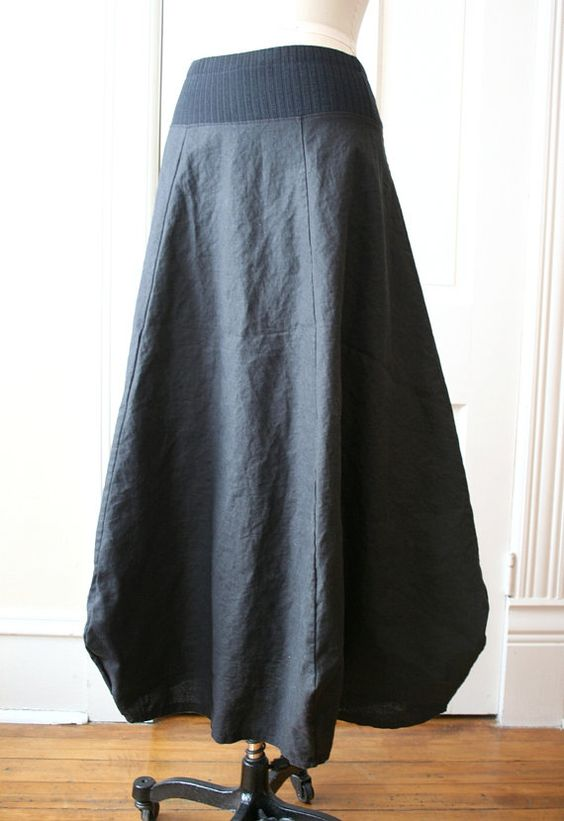 BREATHE  Black Washed Linen Lagenlook Skirt by Breathe1960 on Etsy, $120.00