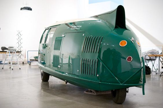 Buckminster Fuller's Dymaxion Car #4 (a replica commissioned by Lord Norman Foster) at Museum MARTa, Herford, Germany