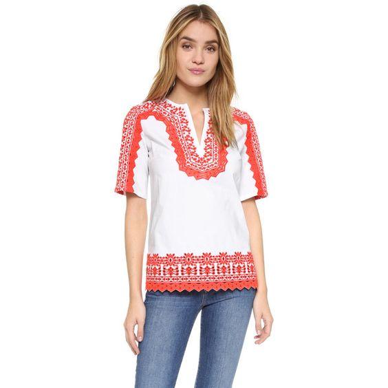 Tory Burch Isla Tunic (315 CAD) ❤ liked on Polyvore featuring tops, tunics, white, boho shirts, v-neck shirt, side slit shirt, half sleeve shirts and elbow sleeve shirts