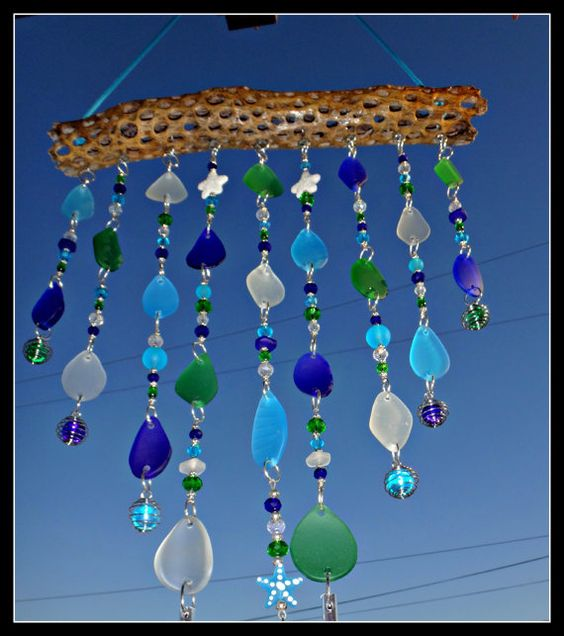 Tiered Beach Glass Windchime / Mobile with Starfish