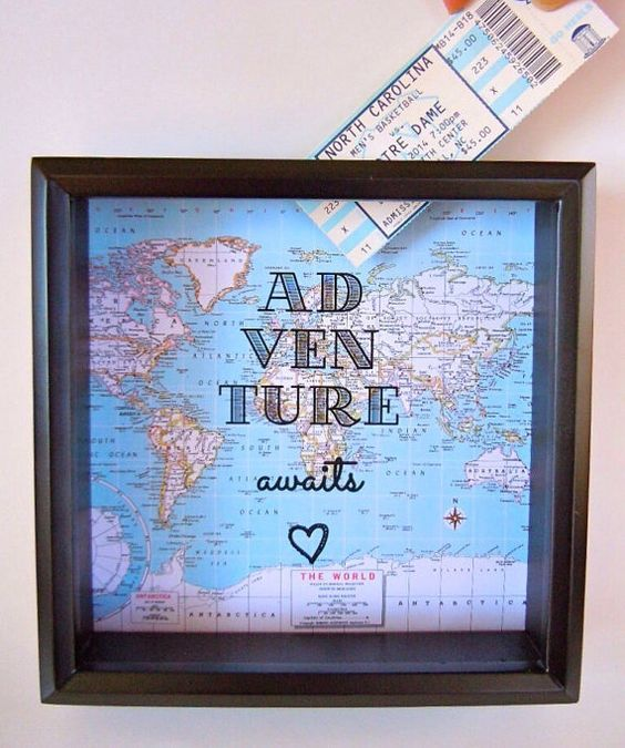 Ticket Holder Shadow Box - Ticket Stub Holder - Drop Top Box Frame  - Adventure Awaits - Great Gift - Map Shadow Box - Square Frame