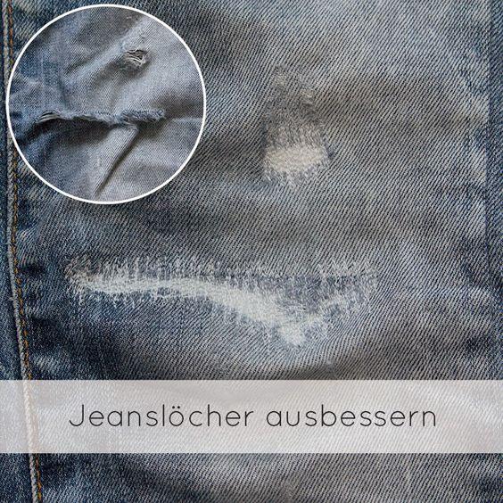 Jeanslöcher ausbessern - Nähen lernen