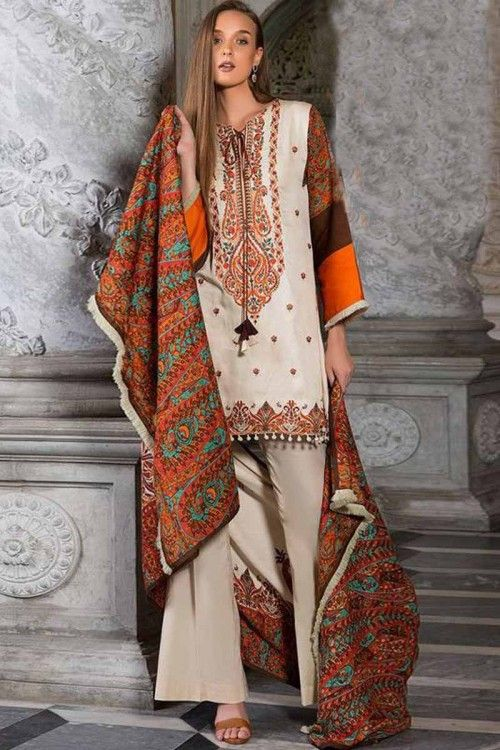 Orient Stitched Embroidered Designer Suit In Twill