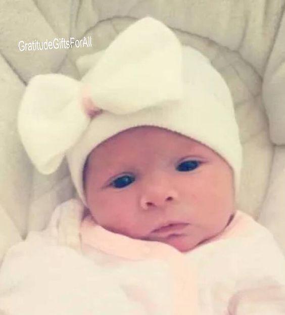 SOLID WHITE Newborn Hospital Hat Baby's by GratitudeGiftsForAll
