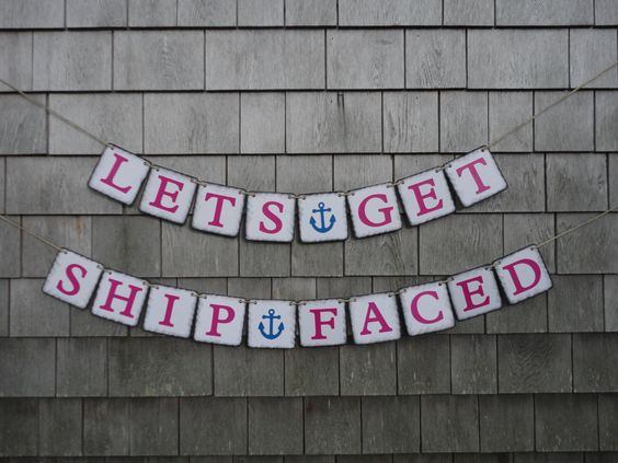 Bachelorette Banner, Nautical Bachelorette Banner, Bachelorette Party Decor, Ship Faced, Nautical Party Decor, Nautical Bachelorette Sign by IchabodsImagination on Etsy https://www.etsy.com/listing/193045781/bachelorette-banner-nautical