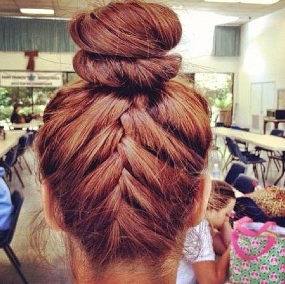 Upside down French braid into a bun # cute