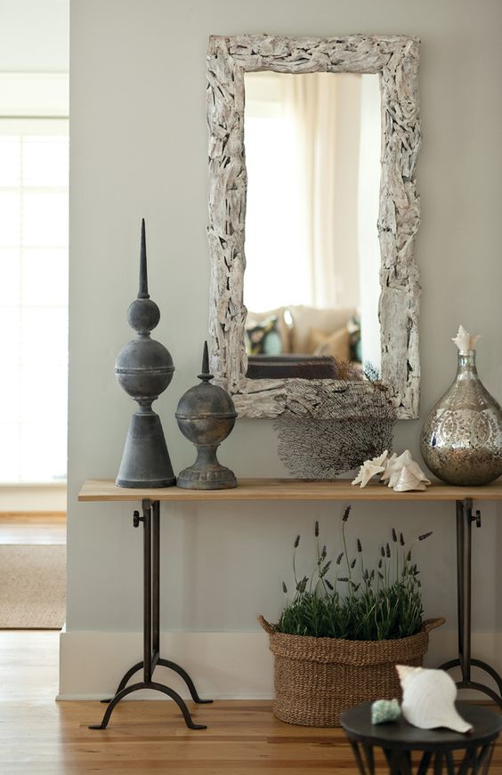 Miroir Bois Flotte Fabrication : Entry Table and Mirror Decorating Ideas
