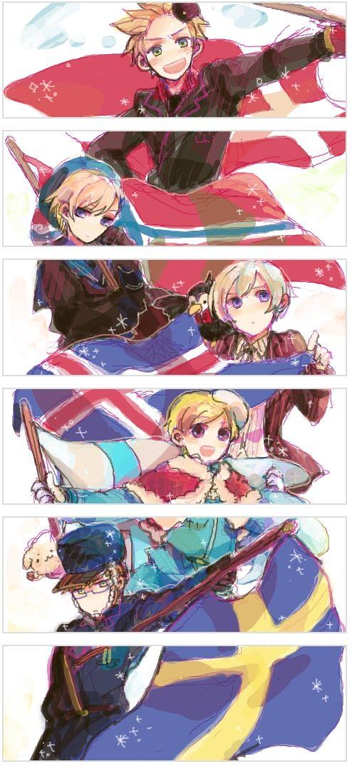Tags: Anime, Axis Powers: Hetalia, Denmark, Sweden, Finland, Norway, Iceland