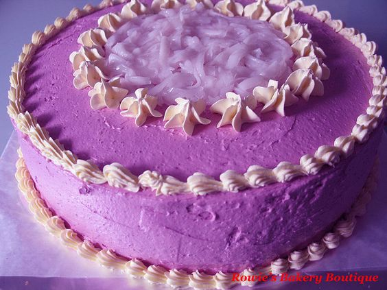 Ube (Yam)  Cake with Macapuno Coconut - Round by Rowie's Bakery, via Flickr