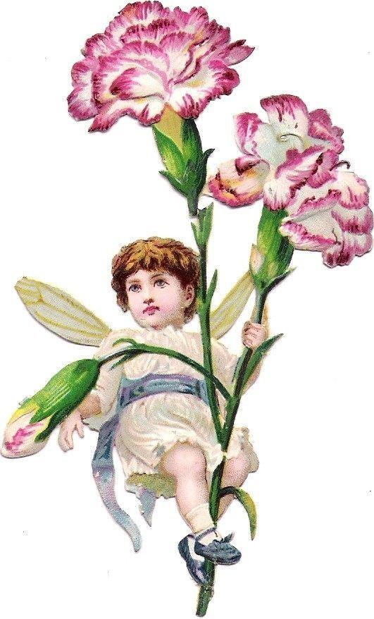 Oblaten Glanzbild scrap die cut Elfe 11,2cm Kind Flügel Engel Blume Nelke: