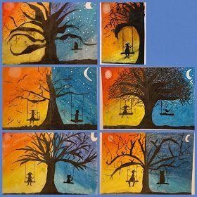 Art Room Britt Silhouettierter Tag Und Nachtbaum Kunst