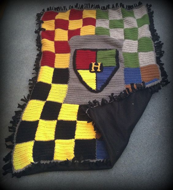 Harry Potter Hogwarts Houses crocheted afghan backed with cuddly blanket fleece!  Best part: no sewing.: