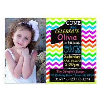 "Rainbow 1st Birthday Invitation. 5"" X 7"" Invitation Card"