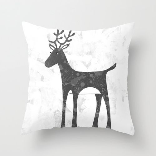 Genevieve's Reindeer Throw Pillow by Squirrell ☺. ✿. ☺