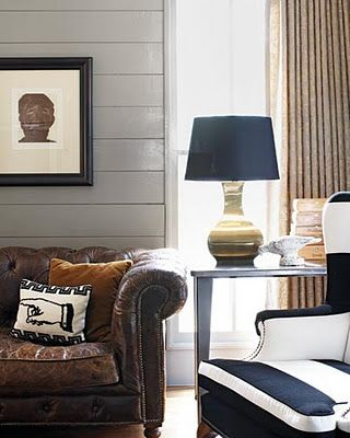 leather, gray walls, navy accents and i love the navy and white stripe wing backed chair