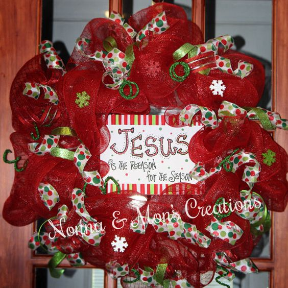 Red Jesus Is The Reason Holiday Wreath by NonnaAndMonsCreation