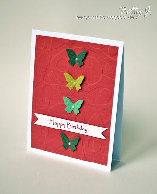 DIY birthday card with butterflies and pearls with simple video tutorial (in German and English)