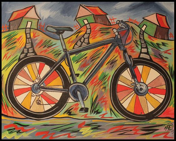 Funky art mountain bikes and acrylics on pinterest for Bicycle painting near me