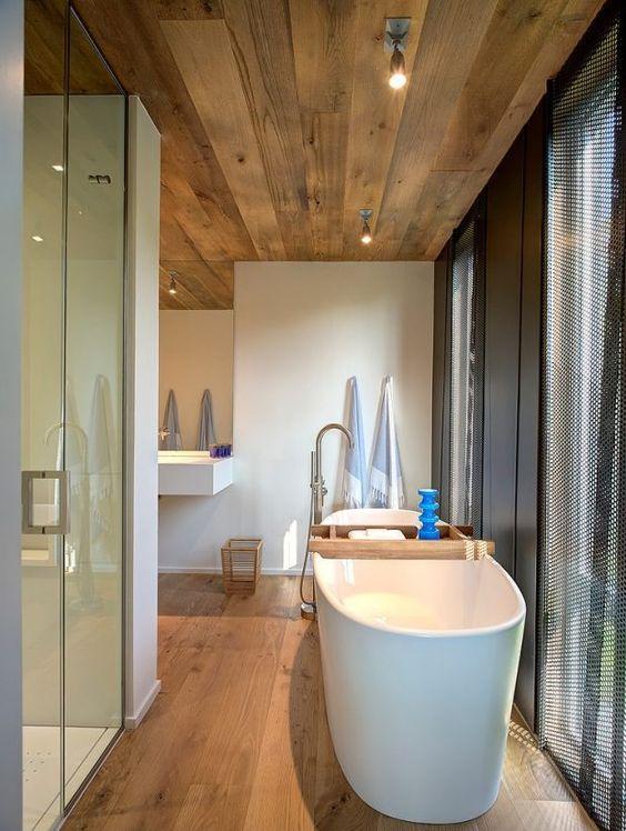 Holzdecke Holzboden-Verkleidung skandinavische Einrichtungsideen ...
