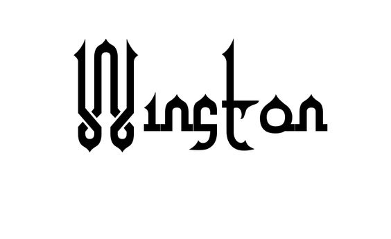 Tatuagem do nome Winston utilizando o estilo Alpha Kufi Regular