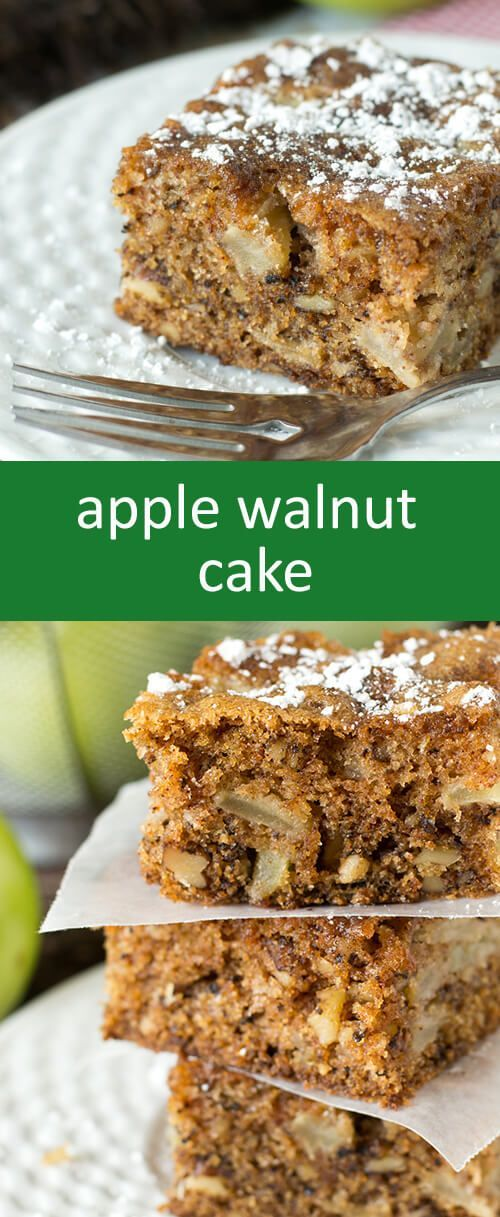 Apple Walnut Cake is a moist cake with apples and walnuts in every ...