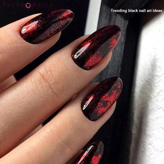 20 Simple Black Nail Art Design Ideas Blacknails Naildesigns Red Nail Designs Red Nails Cute Nails
