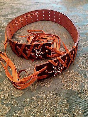 Brown Leather Bohemian Fringe Belt with Colorful Rhinestone Star Trim Oil Tan R | eBay