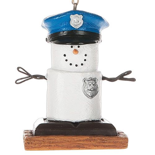2016 S'mores Snowman Police Officer Ornament
