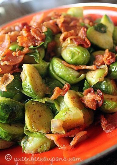 Brussels sprouts with bacon and shallots recipe. I can't decide if this is a side dish or a main dish, I think it would work either way. Super healthy and so delicious that even my son loved it! - Queen Bee Coupons