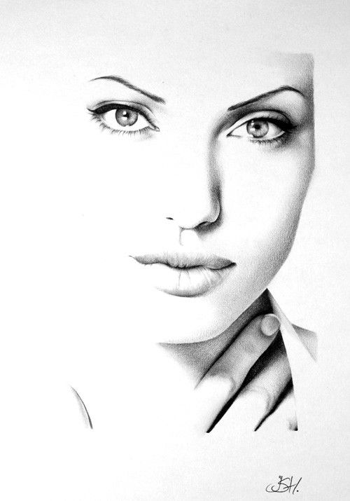 Angelina jolie pencil drawing fine art print signed by for Beautiful drawings and paintings