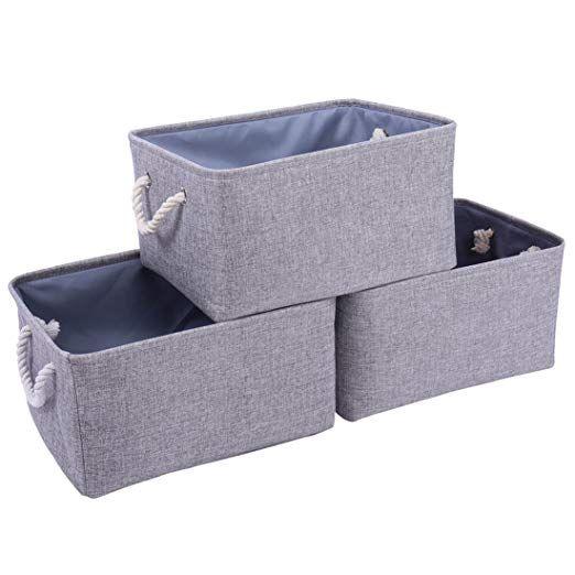 Amazon Com Thewarmhome Decorative Storage Bins Baskets With Cotton Rope Handles 3 Pack Cloth Storage Storage Bins Storage Baskets Collapsible Storage Bins