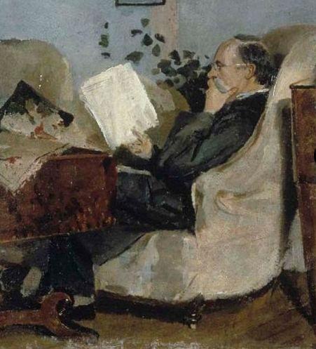 Christian Munch leyendo el periódico, 1881 (el padre del pintor). Edvard Munch (Noruega, 1863-1944)